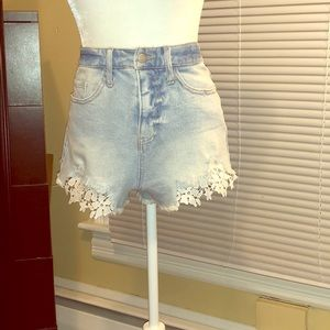 High waisted Denim Shorts with Lace